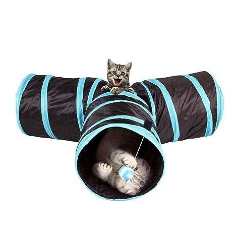 Túnel para gato WonderforU, túnel de juguete plegable con tres entradas