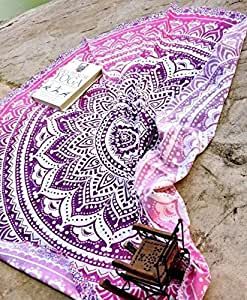 """Popular Handicrafts Round Roundie Indian Mandala Beach Throw Tapestry Hippy Boho Gypsy Cotton Round Table Cover Picnic Throw , Round 70"""""""
