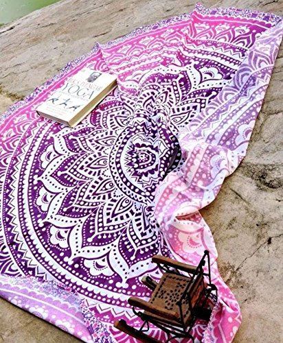 Popular Handicrafts Round Roundie Indian Mandala Beach Throw Tapestry Hippy Boho Gypsy Cotton Round Table Cover Picnic Throw, Round 70