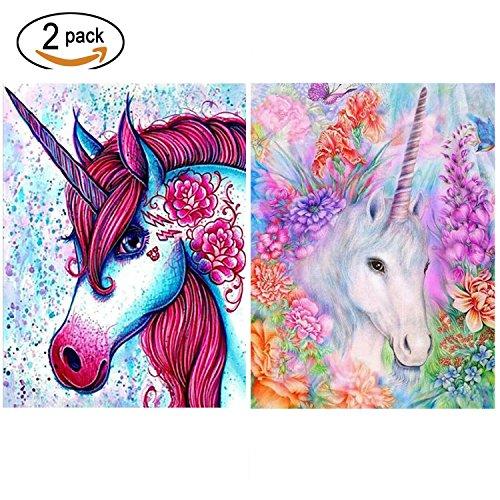 2 Packs 5D DIY Unicorn Diamond Painting Set Full Drill Diamond Painting Kits By Numbers DIY Tools,Unicorn(30x40CM/12 x 16)