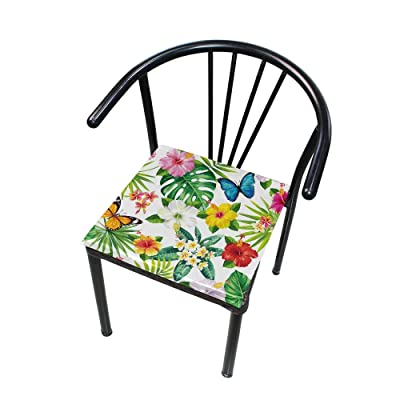 Bardic FICOO Home Patio Chair Cushion Flower Leaf Butterfly Square Cushion Non-Slip Memory Foam Outdoor Seat Cushion, 16x16 Inch: Home & Kitchen