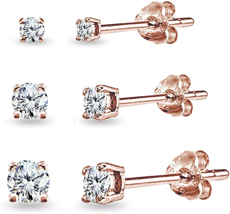 925 Sterling Silver Stud Earrings in Rose GoldClassic Round Zircon Earrings StudShining Clear Wedding CZ Ear StudBridal Earrings