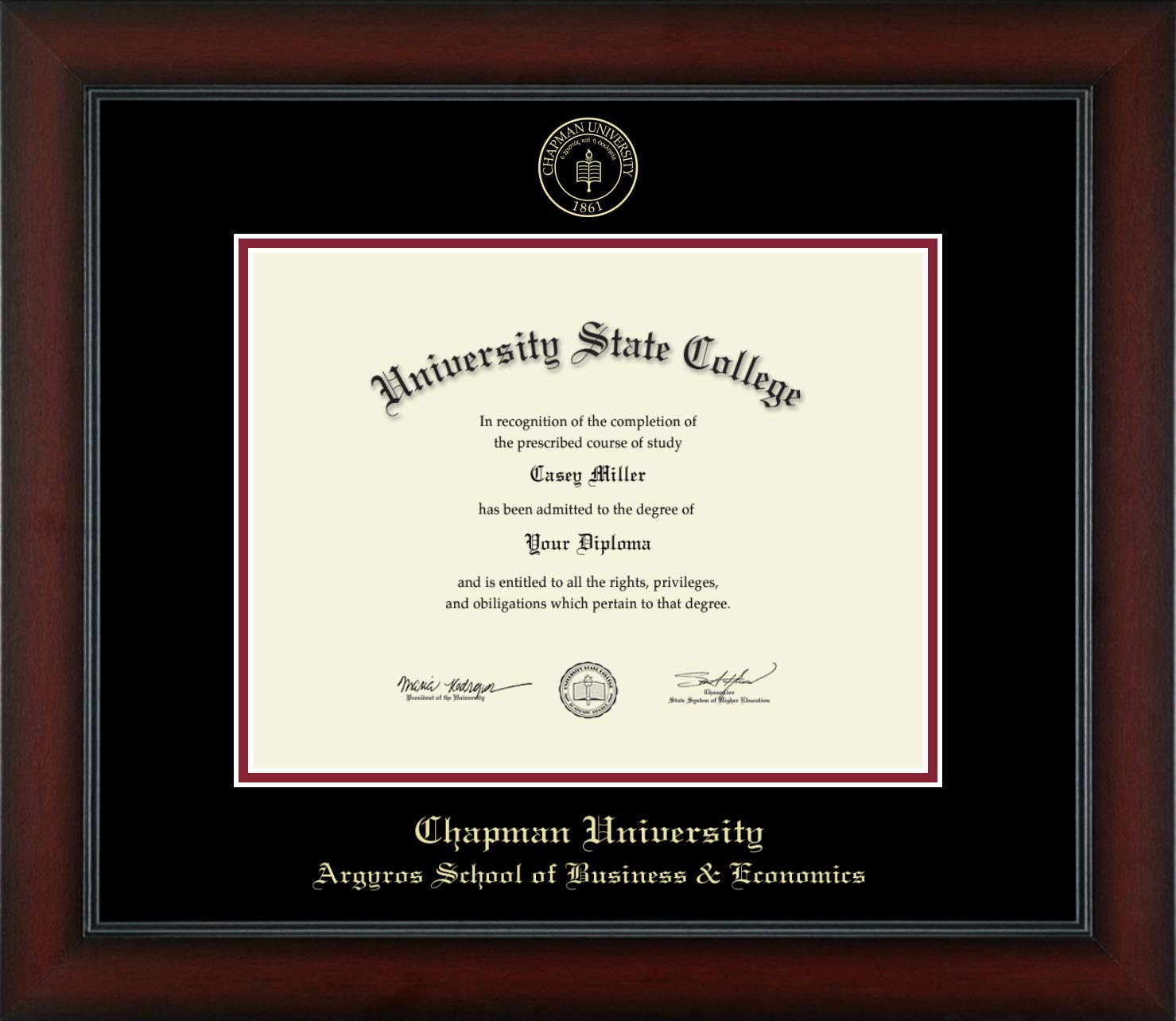 Chapman University Argyros School of Business & Economics - Officially Licensed - Gold Embossed Diploma Frame - Diploma Size 11'' x 8.5''