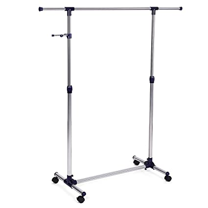 SONGMICS Height Adjustable Clothes Rack Rolling Garment Portable Clothing On Wheels ULLR01L