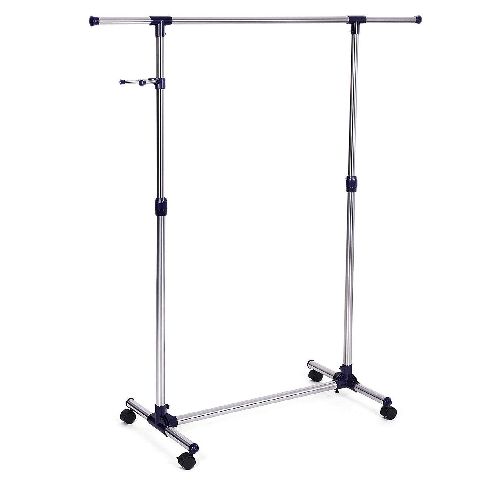 Songmics height adjustable clothes rack rolling garment rack portable clothing rack on wheels ullr01l