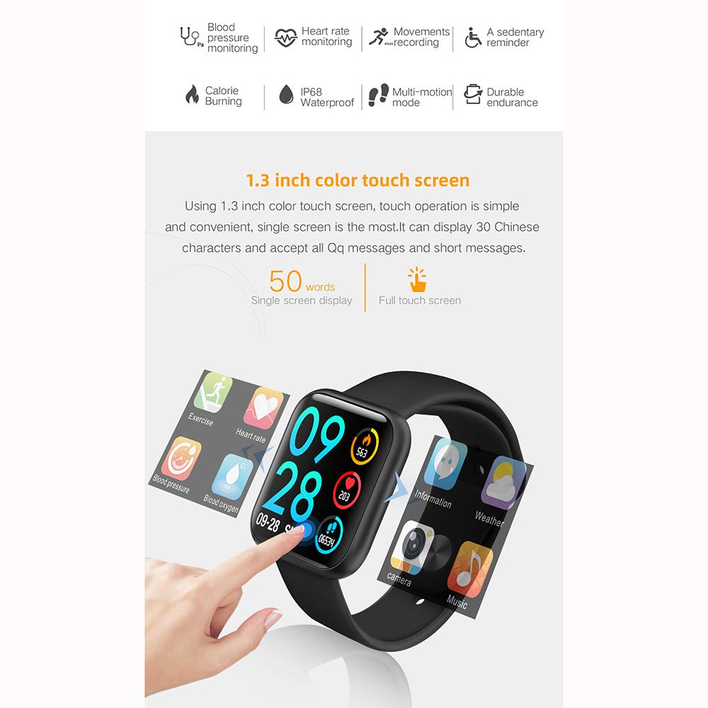 Byoung Activity Tracker for Girls, Fitness Watch IP68 Waterproof Smart Pedometer Watch with All Day Heart Rate Monitor/Blood Pressure, 2019 Upgrade Full Touch Screen Smart Wristwatch Bracelet, Black by Byoung (Image #2)