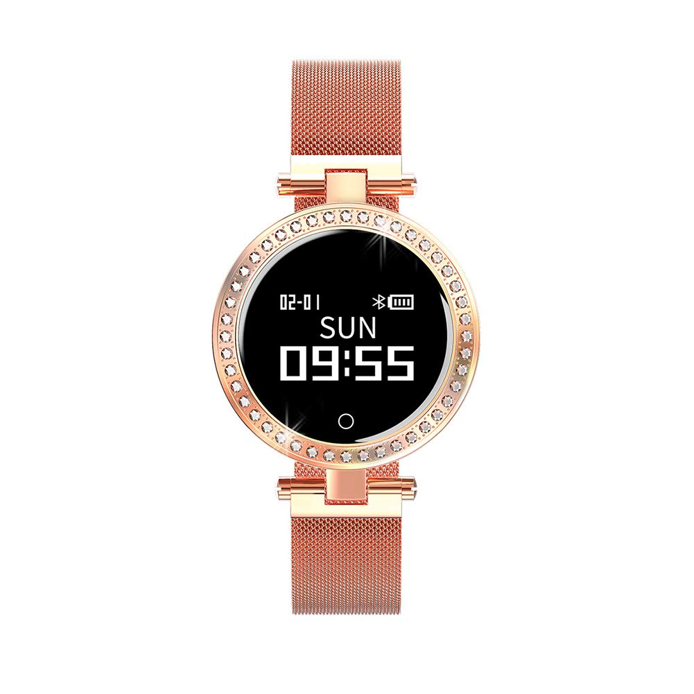 MYLJX Round Smart Watch for Women IP68 Heart Rate Monitor Message Call Reminder Pedometer Calorie Smartwatch Women for Android iOS-Gold by MYLJX