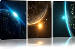 "Space Wall Art Giclee Canvas Prints Wall Art Decor Space Pictures for Bedroom Office Home Decorations Universal Magic Power Modern 3 Panels 12""x16""Contemporary Star Sky Pictures Astronomy Artwork"