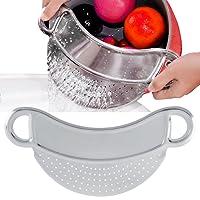 Scolapasta acciaio inox,Filtro in acciaio inox, manopole da incasso per alimenti Filtro scolapiatti Setaccio - Utensile da cucina