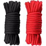 KINGLAKE® [ 2 Pack ] 33*2 Feet Natural Soft Long Cotton Rope High Quality Durable Long Rope Strap 8mm Black and Red
