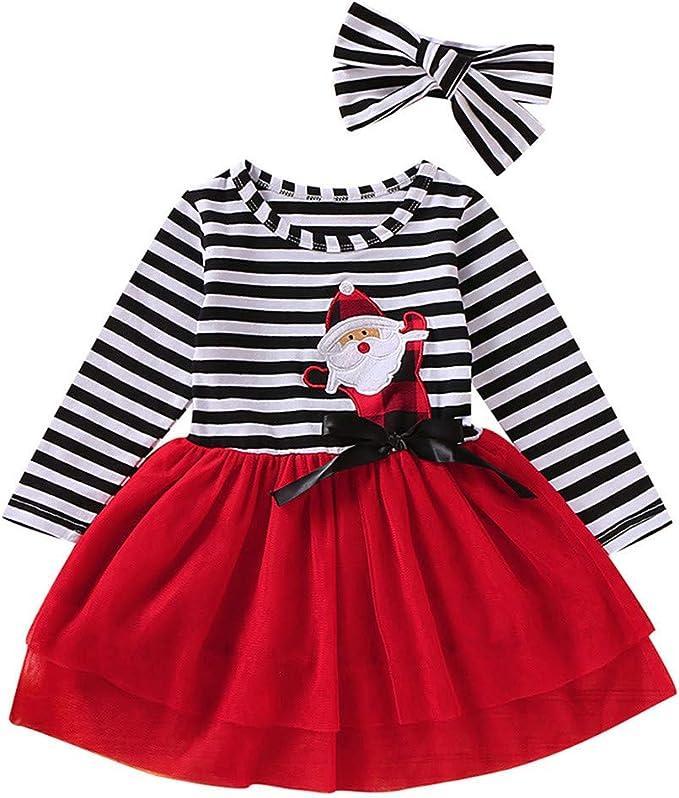 Vestito di Natale per Baby Abiti Natale Bambina Pagliaccetto Manica Lunga+Gonna+Fascia Natale Costume Abito di Natale Ragazza 0-6 Anni