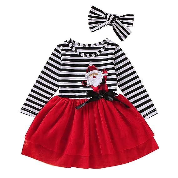 Kids Baby Girl Clothing Set,Christmas Costumes for Kids Girls,for 1-5 Years Old,Kids Baby Girls Christmas Santa Striped Print Long Sleeve Christmas Dress+Headbands Outfits Set