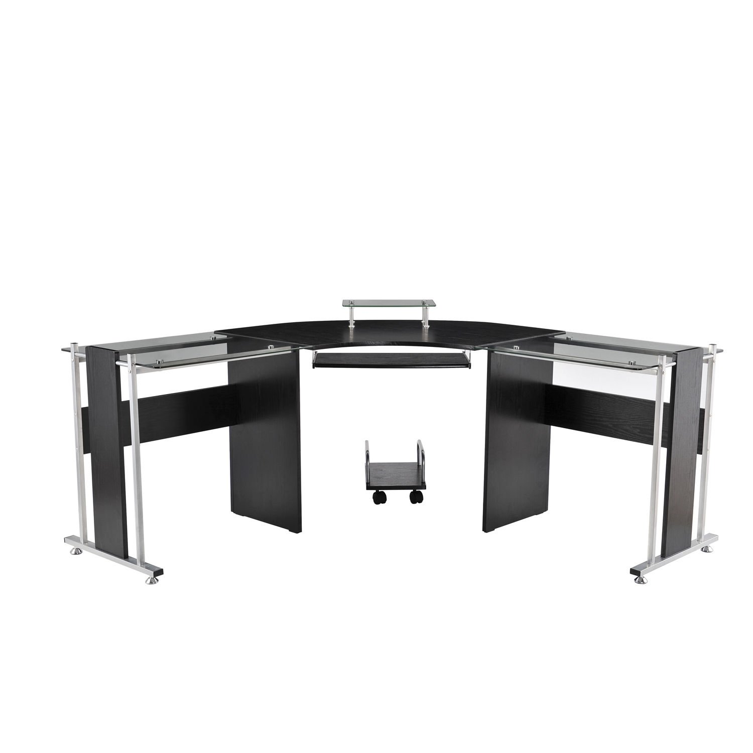 HOMCOM Modern L-Shaped Symmetrical Tempered Glass Desk