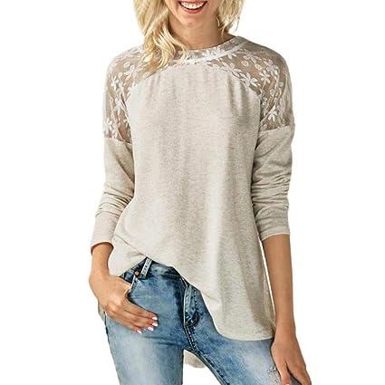 ... SóLido Color Camisas Casual Tops T-Shirt Blusa De La Blusa del Bowknot De La Manga Larga del CordóN del Cuello O Mujeres: Amazon.es: Ropa y accesorios