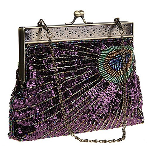 THENICE Peacock feathers Pattern beaded Sequin Evening Bag (Purple)