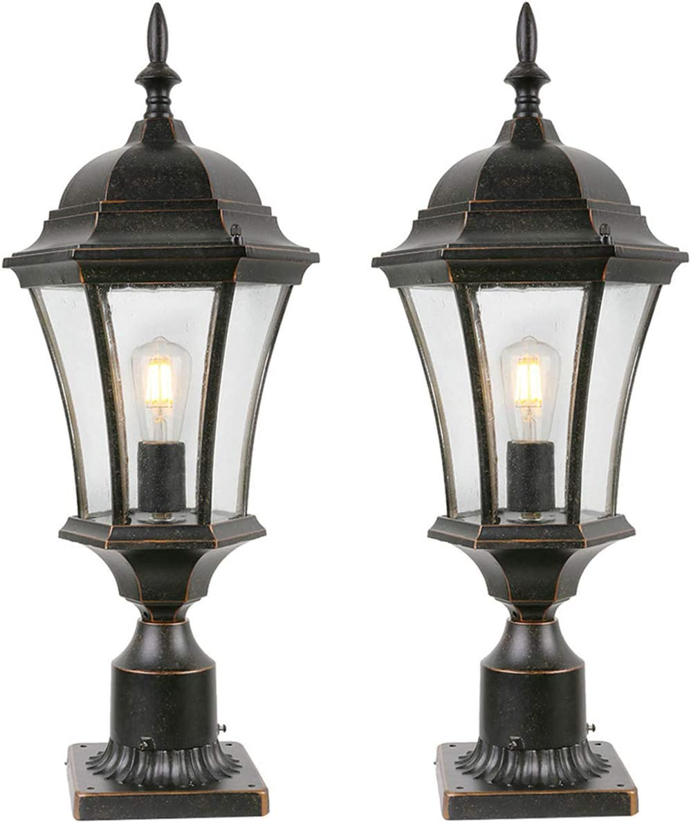 Goalplus Outdoor Post Light Fixture with Pier Mount for Yard 24 1 2 High 60W Post Lamp for Driveway Antique Bronze Post Lantern with Clear Seeded Glass, 2 Pack, LM4610-M-2P