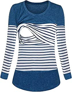 Clearance! Maternity Womens Nursing Long Sleeve Striped Top Shirt Warm Double Layer Breastfeeding Blouse