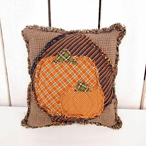 Handmade Ragged Homespun Plaid Pumpkin Pillow by Jubilee Cre