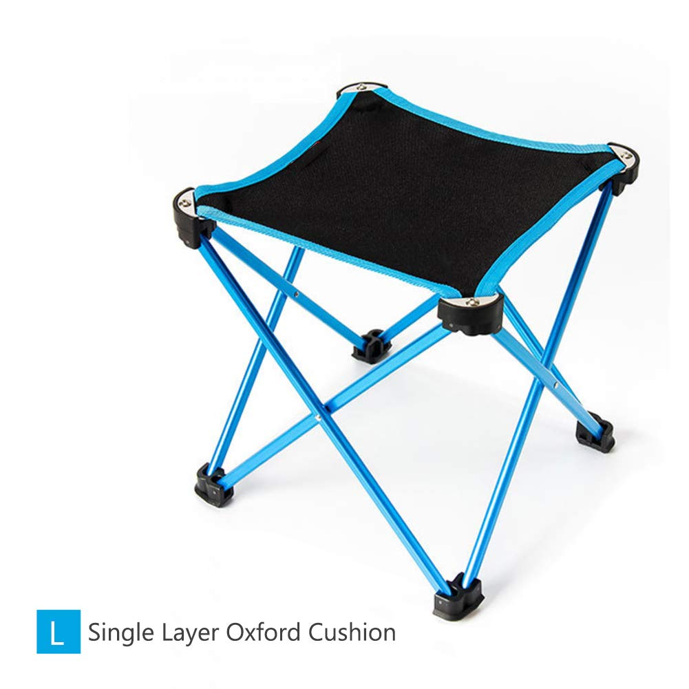 blueeeA Large Portable Folding Stool Table Four Legs NonSlip Collapsible Camping Chair for Hiking, Fishing, Beach, Park with Carry Bagorange XL