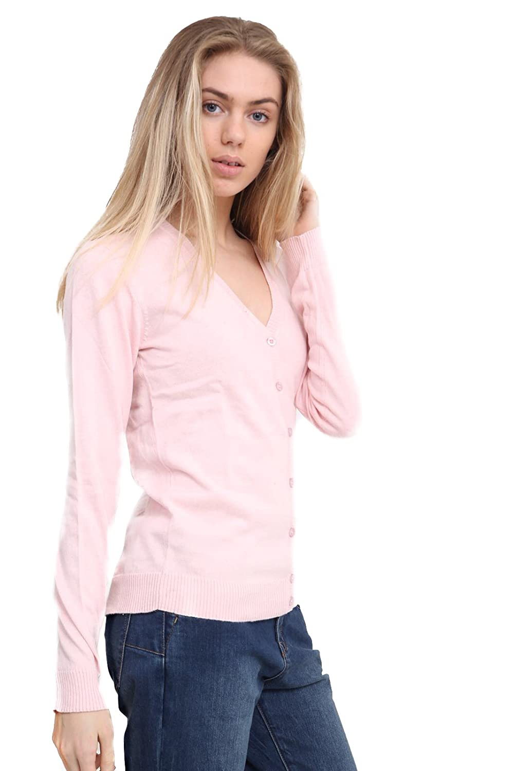 Malwee Ladies Fine Knit V Neck Woman Button Cardigan Long Sleeve Tops