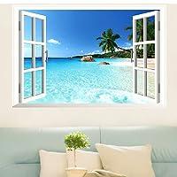 Skyllc® Grande rimovibile Spiaggia Mare Window Vista 3D Scenery Wallpaper Wall Sticker