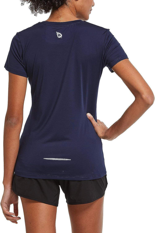 BALEAF Women's Athletic Short-Sleeved Running T-Shirts Lightweight Quick Dry Workout Training Yoga Crewneck Tops : Clothing