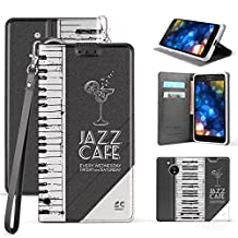 Moto G5 Case, Slim Dual Layer Hybrid Synthetic Leather Magnetic Closure Flip Wallet Cover For Moto G (5th Gen) XT1671 XT1672 With Kickstand Feature Card Slot Wrist Strap Piano Keyboard - Jazz