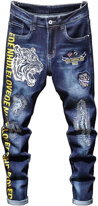 Pantalones Hombre Otono Bordado Slim Lavado Fit Jeans Modernas Casual Pantalones Parches De Moda Agujeros Basicos Pantalones De Mezclilla Versatil Primavera Hombres Pantalones Vaqueros De Lapiz Amazon Es Ropa Y Accesorios