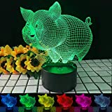 Cute Pig Light 3D Led Illusion Night Lights for Grils Kids Nursery, 7 Color Changing Touch Desk Lamp Children Birthday Gifts Toys