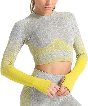 Camisetas y Camisas Deportivas Mujer Fitness Tops, Pulgar ...