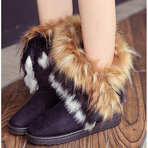 Donalworld Mujeres Warm Botines De Ante Botas De Piel Borla Zapatos Planos Bk1