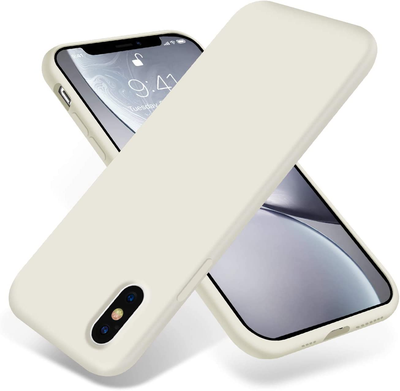 OTOFLY iPhone Xs Max Case,Ultra Slim Fit iPhone Case Liquid Silicone Gel Cover with Full Body Protection Anti-Scratch Shockproof Case Compatible with iPhone Xs Max, [Upgraded Version] (Antique White)