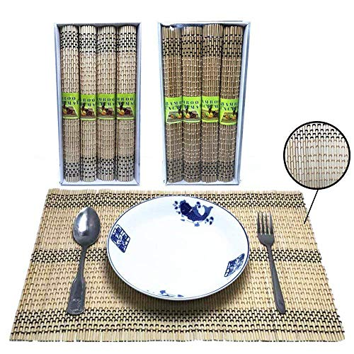 (Tsyware Pack of 8, Bamboo Placemats Table Mats Decoration, Heat Resistant, 12