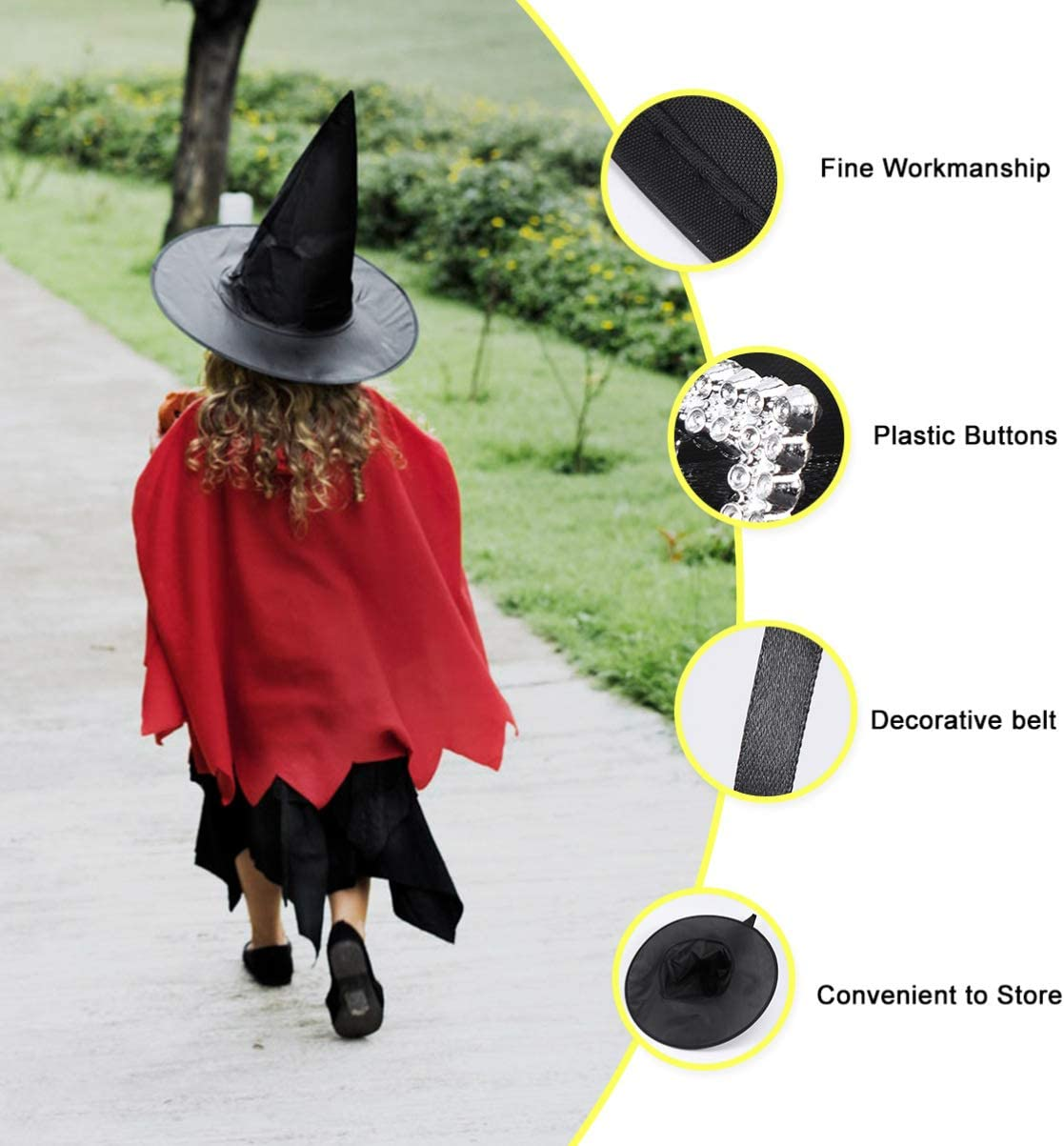 Purple KESYOO Halloween Luminous Witch Hats Halloween Party Hat Props Witches Decoration Props Role Play Witch Hat Decor for Child Kids