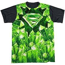 SUPERMAN DC Comics Superhero Kryptonite S Shield Logo Adult Black Back T-Shirt T