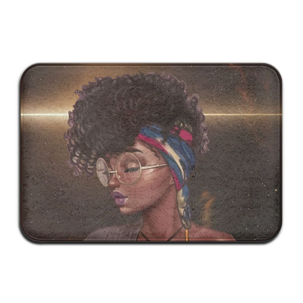 African American Black Woman Painting Bath Mat - 1 Piece Memory Foam Shower Spa Rug 18X36 Bathroom Kitchen Floor Carpet Home Decor With Non Slip Backing - 3 Sizes