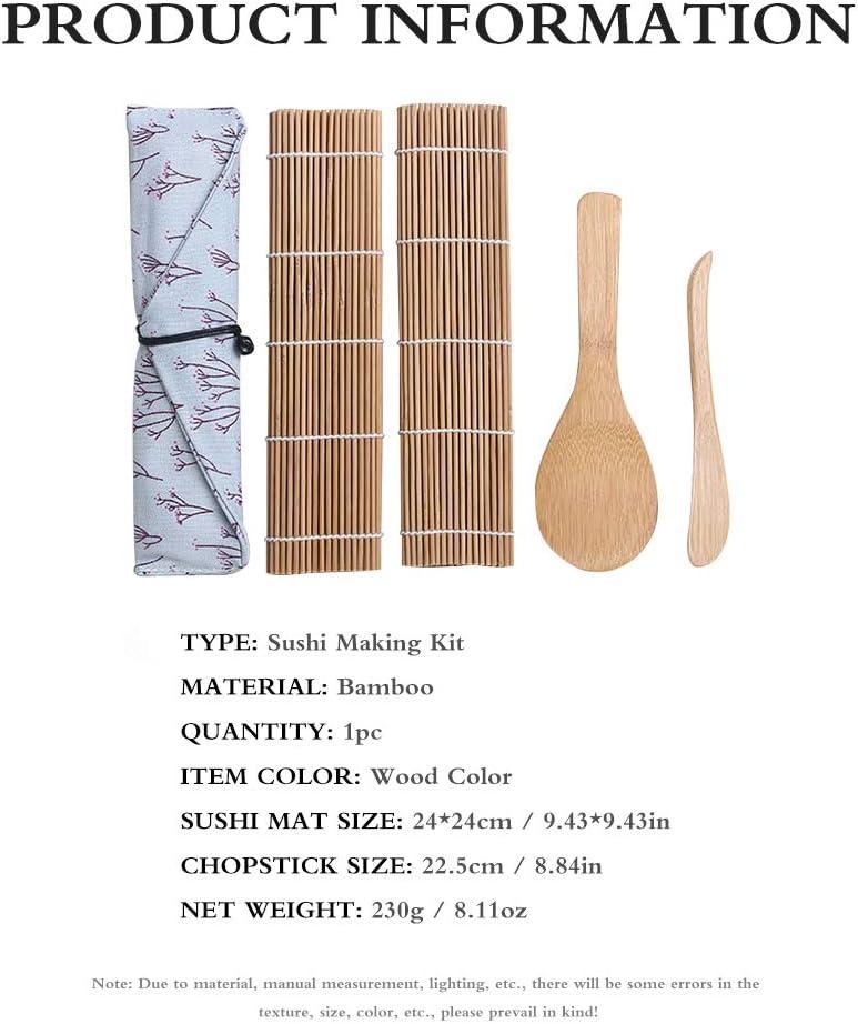 Sushi Kit Incluye 2 Alfombrillas De Bamb/ú Para Rodar 1 Separador De Arroz Para Sushi Principiantes 1 Pala De Arroz 5 Pares De Palillos De Picar HITECHLIFE Kit De Fabricaci/ón De Sushi De Bamb/ú