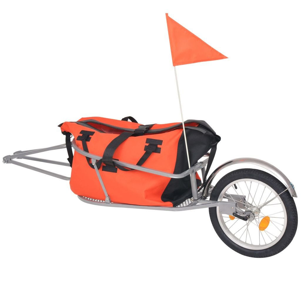 vidaXL Remorque à Bagage pour Vélo avec Sac Orange et Noir Bicyclette Remorque