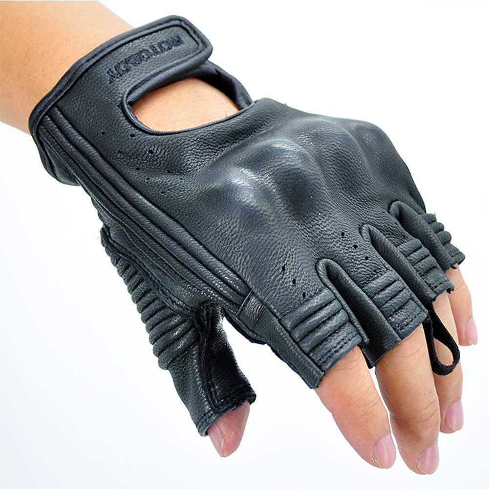 Summer Leather Motorcycle Gloves,Half-Finger Breathable Black Anti-Sliding Riding Gloves for Men/Women from MOTO-BOY (L, Black)