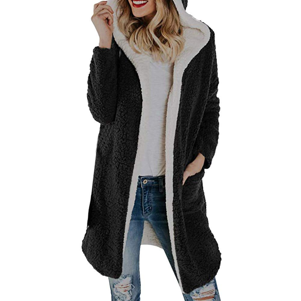 black Ladies Sweater Womens Winter Warm Fleece Hooded Open Front Cardigan Outwear Coat Solid color Keep Warm Casual Wild Tight for Women (color   black, Size   M)