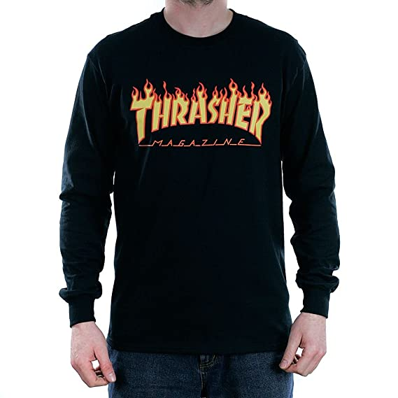 c39dd2c73e2 Thrasher Magazine Flame Long Sleeved T-Shirt Black: Amazon.co.uk ...