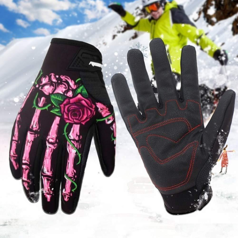 Skeleton Print Winter Outdoor Sport Cycling Full Finger Gloves Men Women Mitten - Green L