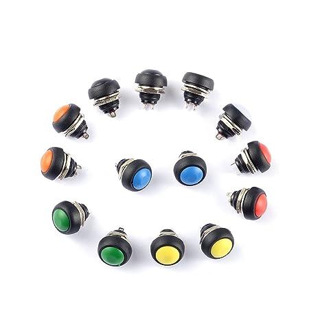 10PCS Black 12mm Waterproof momentary Push button Switch Mini Round Switch