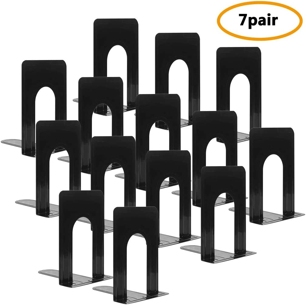 Bookend Supports, Heavy Duty Metal Black Bookend Support, 6 x 5 x 6 Inch, Set of 7 Pairs
