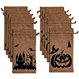 LUTER Halloween Burlap Bags Trick or Treat Hessian Bags Drawstring Gift Bags for Party Candy Cookie Goodie Favors(10 Pack)