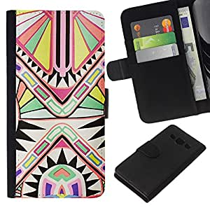 WINCASE Cuadro Funda Voltear Cuero Ranura Tarjetas TPU Carcasas Protectora Cover Case Para Samsung Galaxy A3 - Modelo blanco antiguo arte