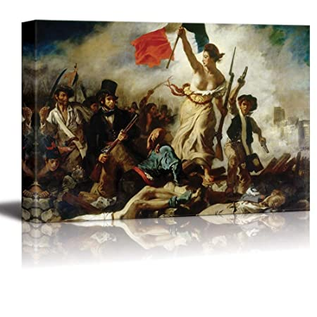 Liberty Leading The People by Eugene Delacroix Giclee Canvas Prints Wrapped Gallery Wall Art Stretched and Framed Ready to Hang – 32 x 48