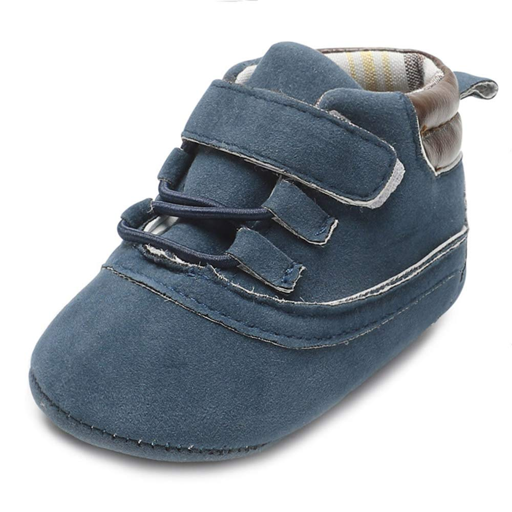 MZjJPN Flock Leather Moccasins Lace-Up Newborn Baby Soft Sole Crib Shoes Infant Boy Girl First Walkers 0-18 Months