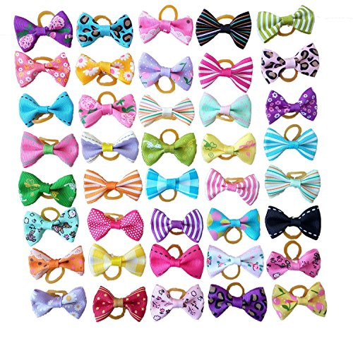 PET SHOW Pet Dog Hair Bows With Rubber Bands Cat Puppy Grooming Hair Accessories Pack of 50 by PET SHOW