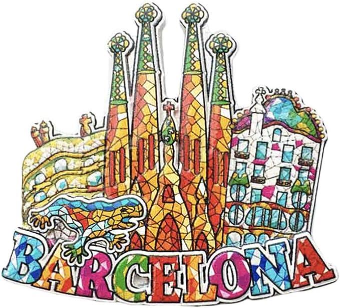 Barcelona España 3D Mosaico Sagrada Familia Catedral Refrigerador Imán Recuerdos Turísticos Resina Pegatinas Magnéticas Imán de Nevera Hogar y Cocina Decoración de China: Amazon.es: Hogar